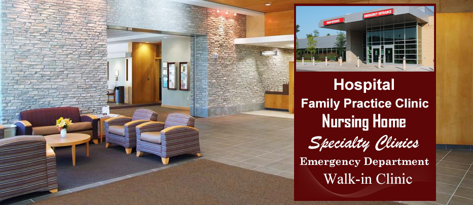 Burnett Medical Center, Hospital, Family Practice Clinic, Emergency Department, Specialty Clinic, Nursing Home, Walk-in Clinic.