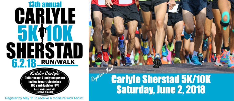 The 2018 Carlyle Sherstad 5K/10K race will be held on June 2 during Big Gust Days in Grantsburg, WI. More information on the BMC web site under events.