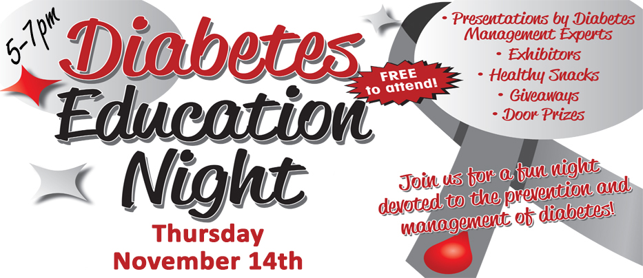 Diabetes Education Night at Burnett Medical Center, Thursday, November 14, 5-7 PM. Free. Call 715-463-7285 to RSVP.