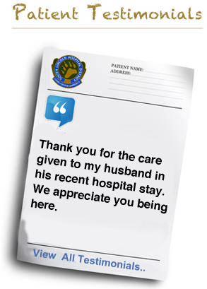 Thank you for the care given to my husband in his recent hospital stay. We appreciate you being here.
