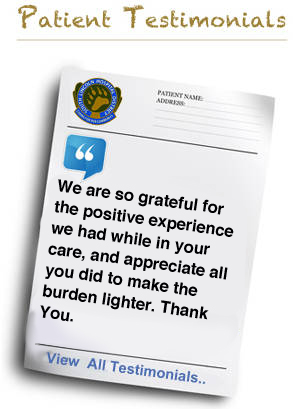 We are so grateful for the positive experience we had while in your care, and appreciate all you did to make the burden lighter. Thank You.