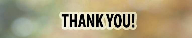 Blurred background with clear words that say, Thank you