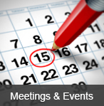 "A calendar with the 15th of the month circled in red- links to ""Meetings & Events"" page"