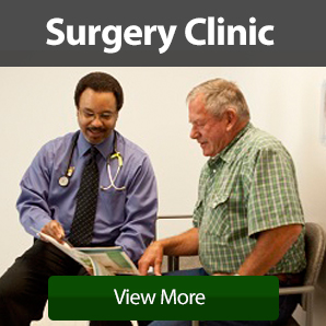 Surgery Clinic ad with Dr. Keith Thomas smiling and explaining a surgical procedure to a man with a green plaid shirt and grey hair