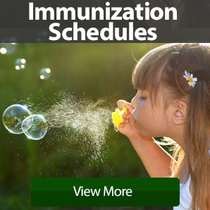 Immunization Schedules advertisement with a female child blowing bubbles outside