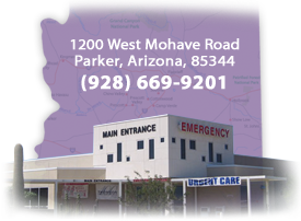 Purple background in the shape of the state of Arizona with a photo of the main entrance of the hospital in the foreground. Address is 1200 West Mohave Road, Parker, Arizona, 85344. Contact number is (928) 669-9201