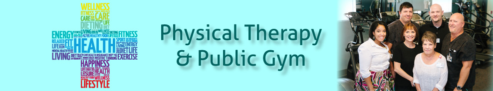 Physical Therapy & Public Gym with a group photo of smiling individuals