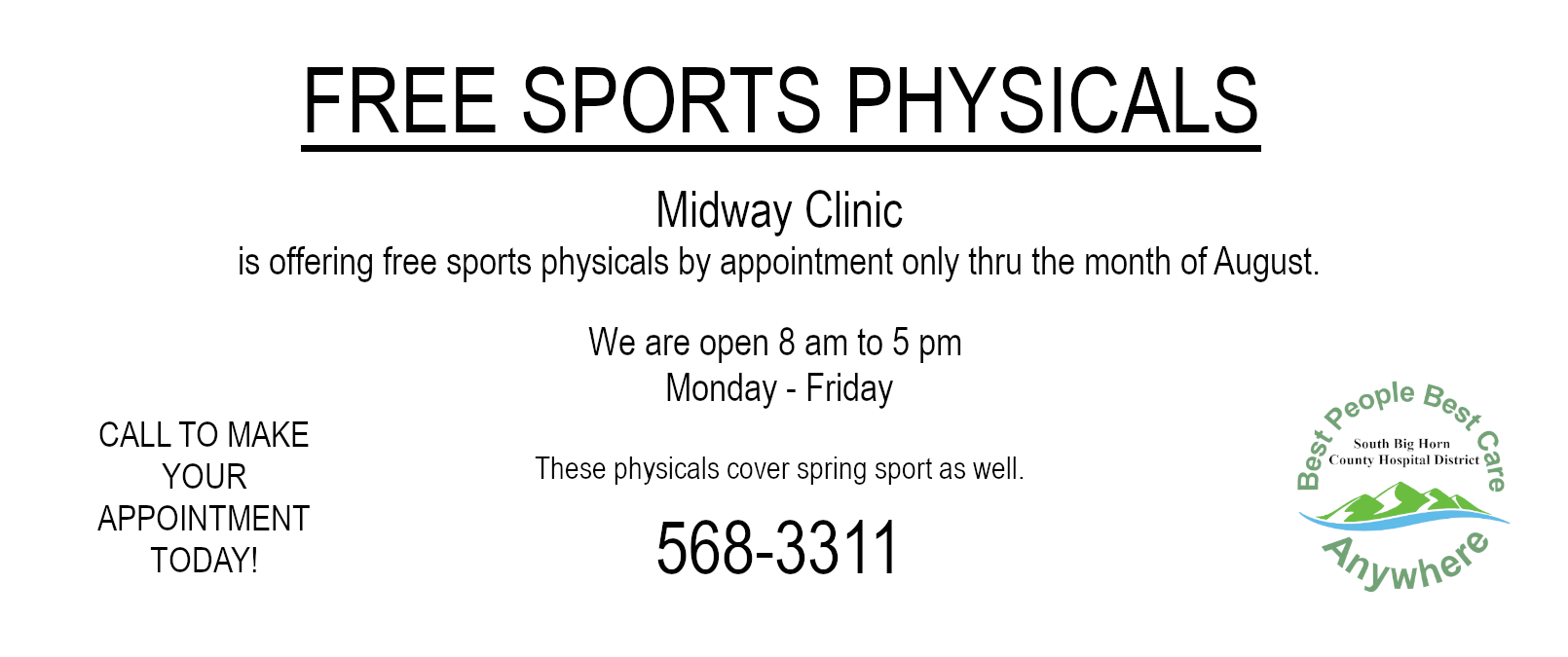 Free Sports physicals thru the month of August 2020