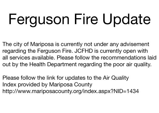 Mariposa County Ferguson Fire Update