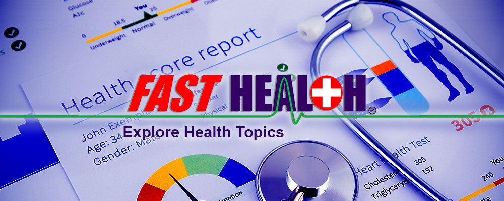 FastHealth: Explore health topics. A background image of a stethoscope and a health score report.