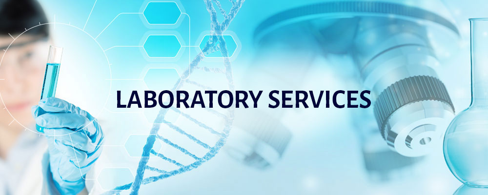 Laboratory services with an image of DNA, a microscope, and other lab equipment