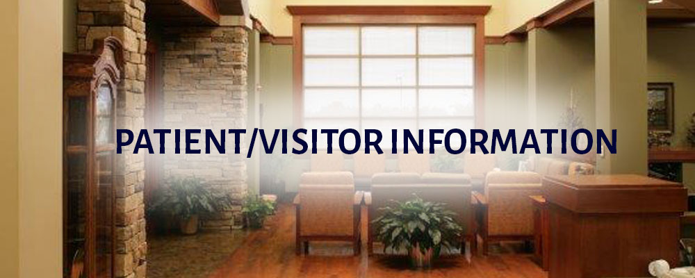 Patient/Visitor Information with a view of a comfortable waiting room
