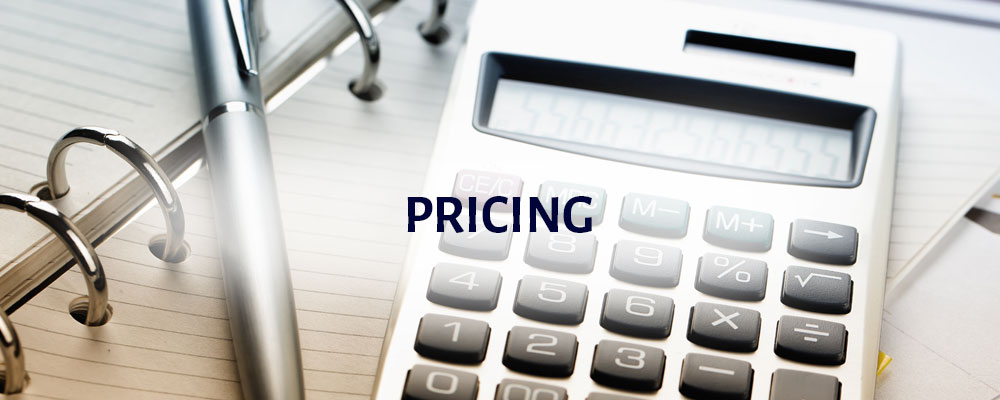 Pricing: an image of a calculator, pen and notepad
