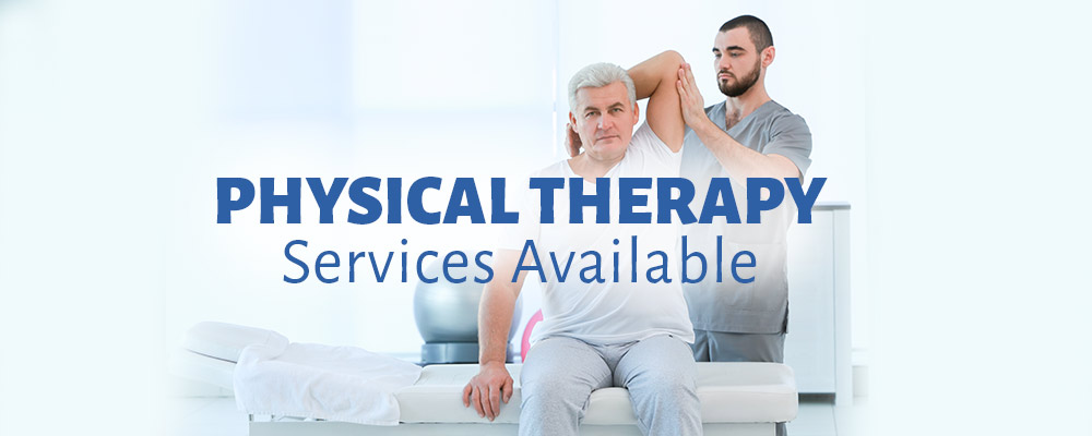 Physical therapy, services available. A physical therapist is assisting a patient with arm and shoulder exercises