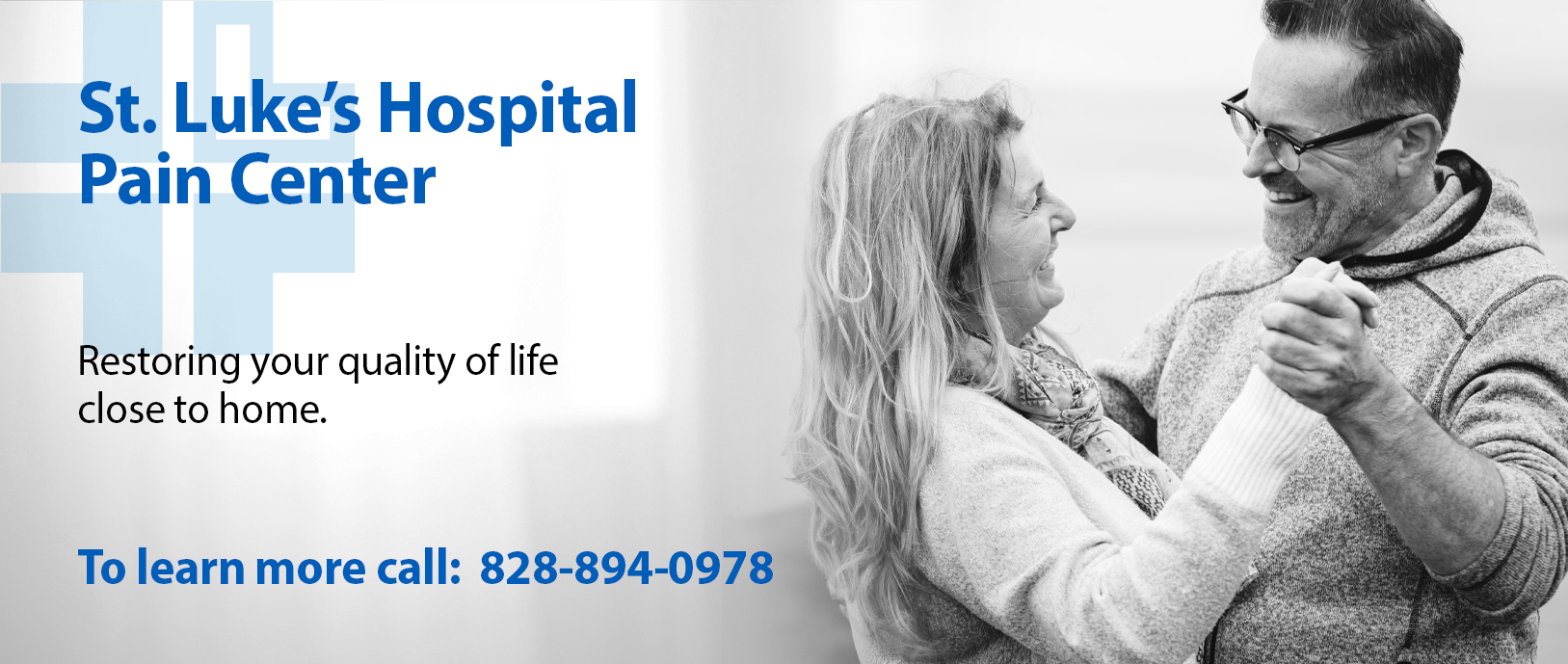A photo of a woman smiling. My hospital for pain relief. St. Luke's Hospital Pain Center helps you manage pain without traveling long distance. If you have any questions call 828-894-0978