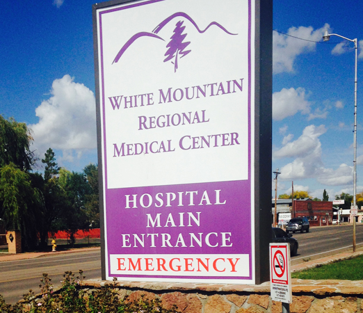 White Mountain Regional Medical Center sign