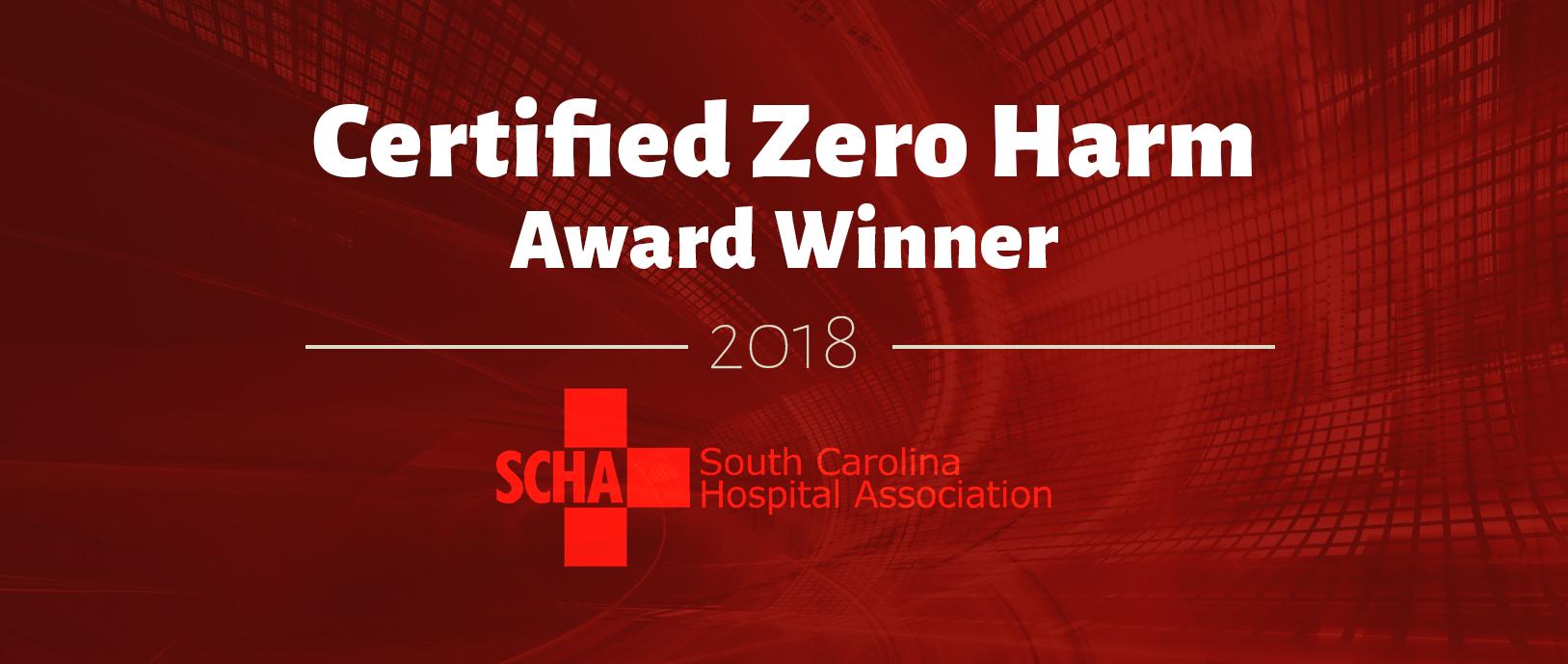 """Text reads, """"Certified Zero Harm, 2018 Award Winner."""""""