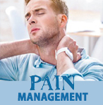 Man with neck pain - ad for burnett medical center pain management services.