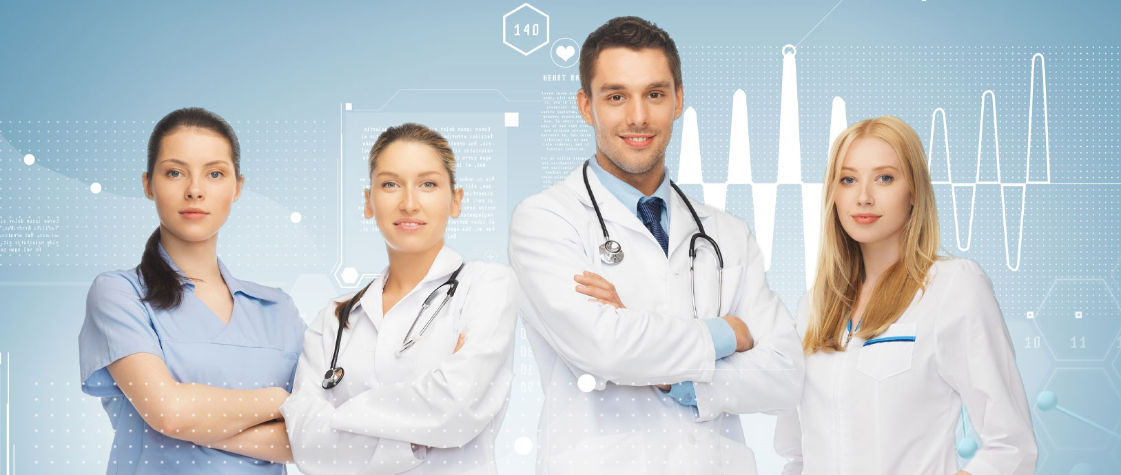 Group of four male and female medical professionals posing for a photo with data analytic graphics in the background