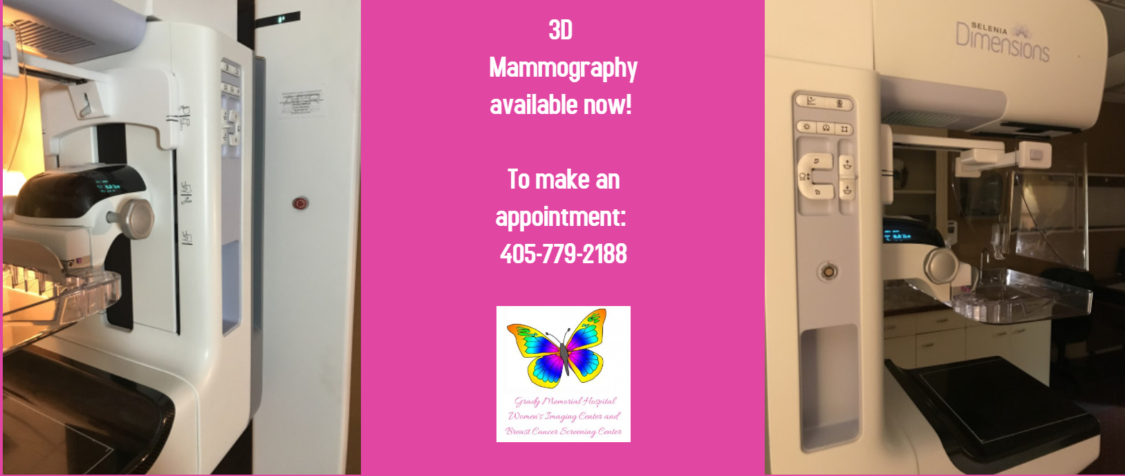 3D Mammography available now! To make an appointment: 405-779-2188