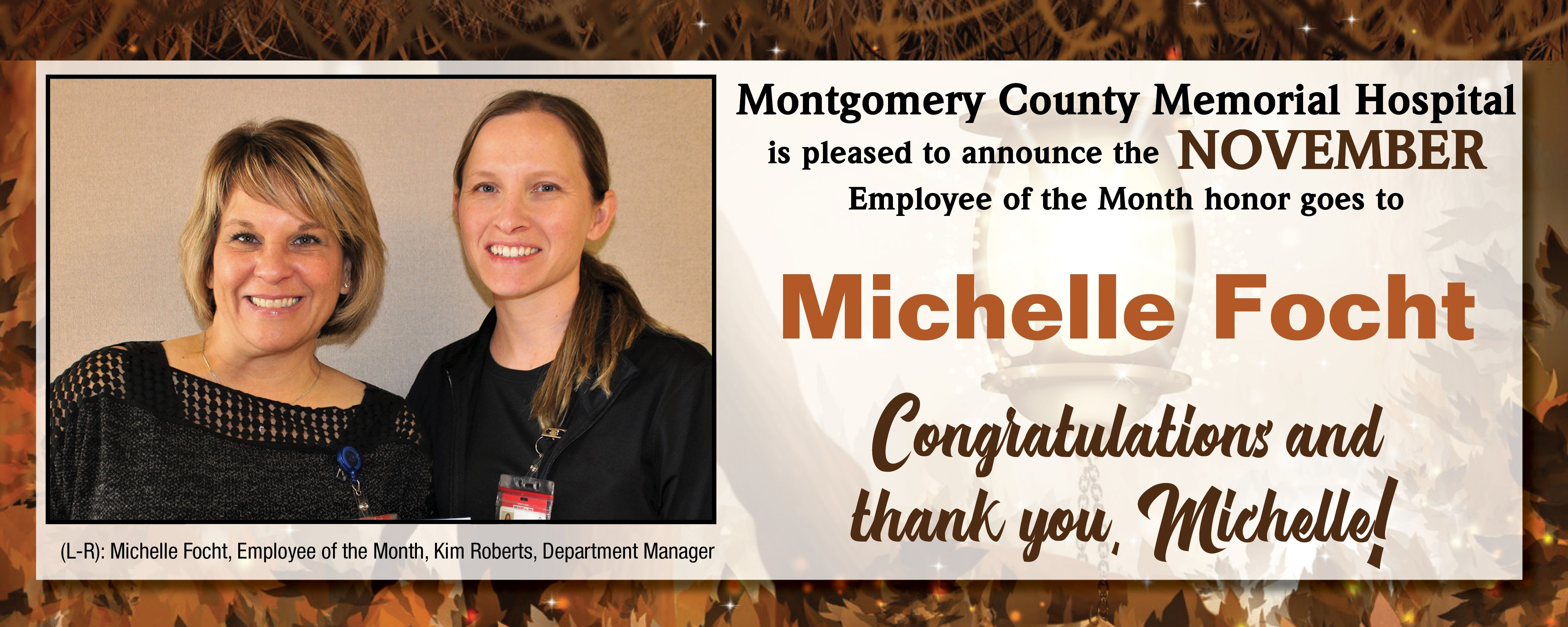 November Employee of the Month, Michelle Focht