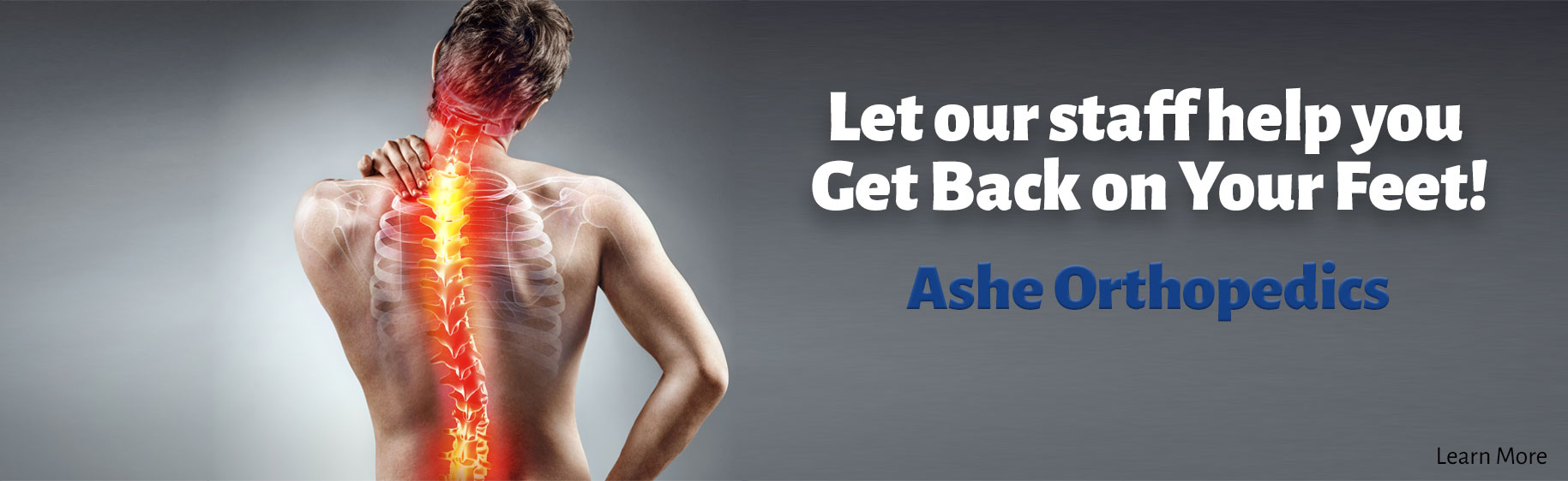 Let our staff help you get back on your feet! Ashe Orthopedics.