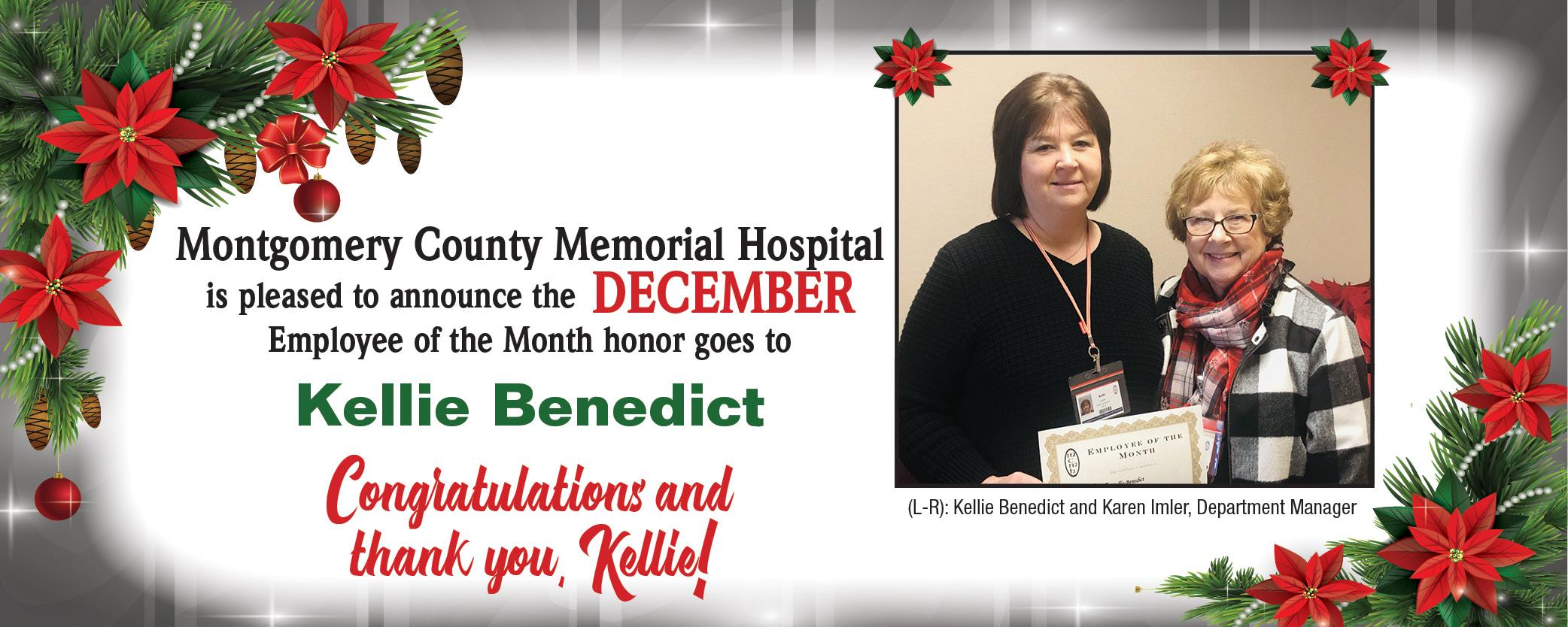 December Employee of the Month, Kellie Benedict.