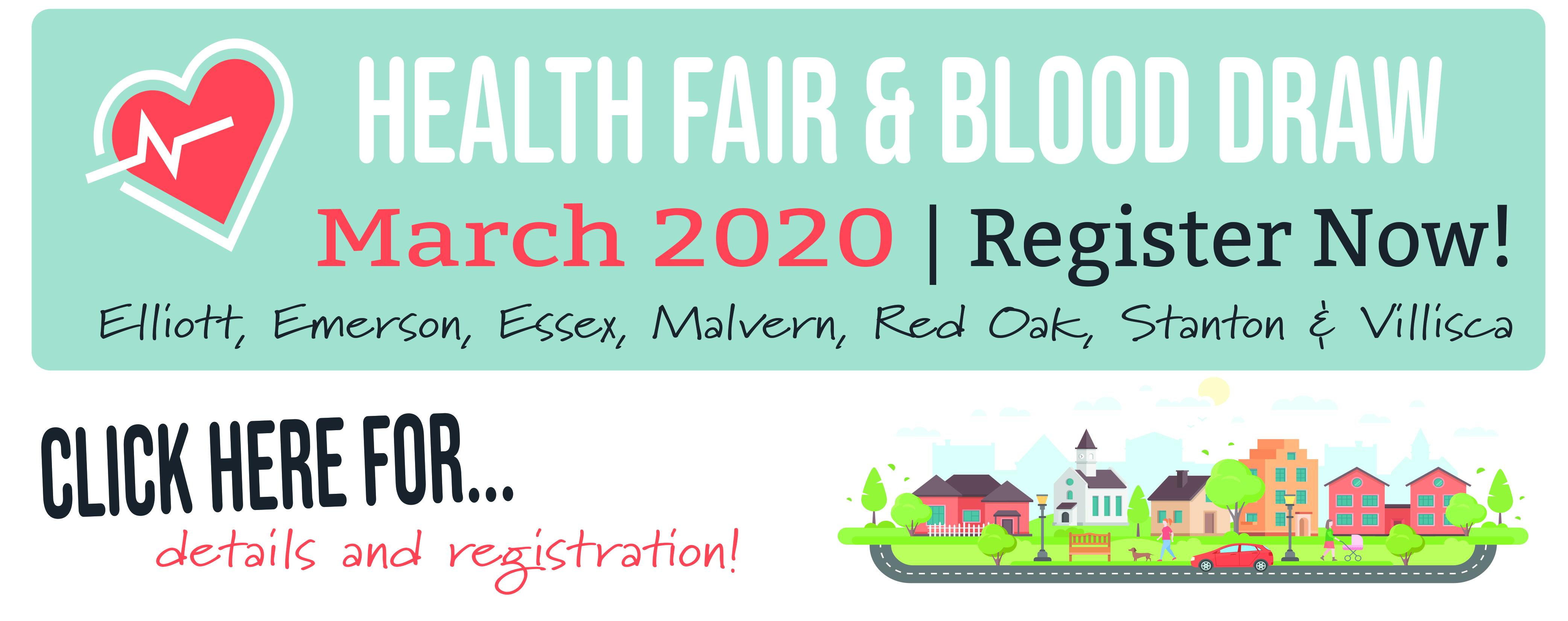 Blood Draw & Health Fair: March 2020