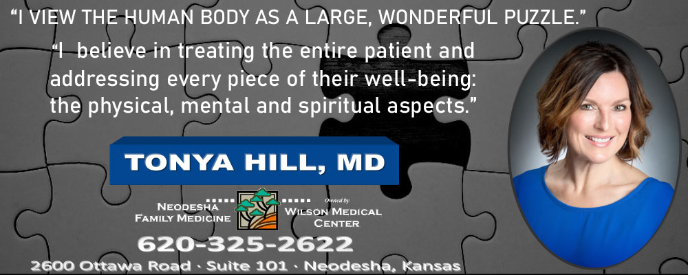 """Pictured is Dr. Tonya Hill.  """"I view the human body as a large, Wonderful puzzle."""" """"I believe in treating the entire patient and addressing ever piece of their well-being: the physical, mental and spiritual aspects.""""  Neodesha Family Medicine  620-325-2622  2600 Ottawa Road Suite 101 Neodesha, KS"""