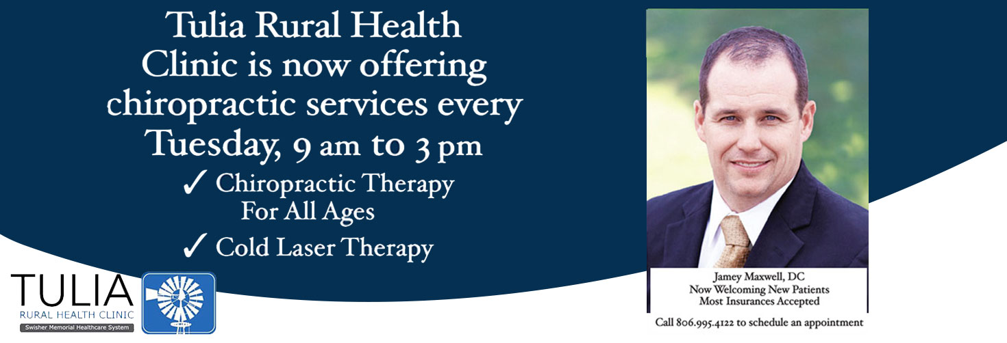 Pictured is Dr. Jamey Maxwell, DC   Tulia Rural Health Clinic is now offering chiropractic services ever Tuesday, 9am to 3pm. Chiropractic Therapy for all ages.   Cold Laser Therapy  Call 806.995.4122 to schedule an appointment.