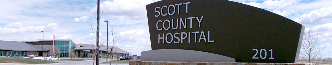 Scott County Hospital entrance sign