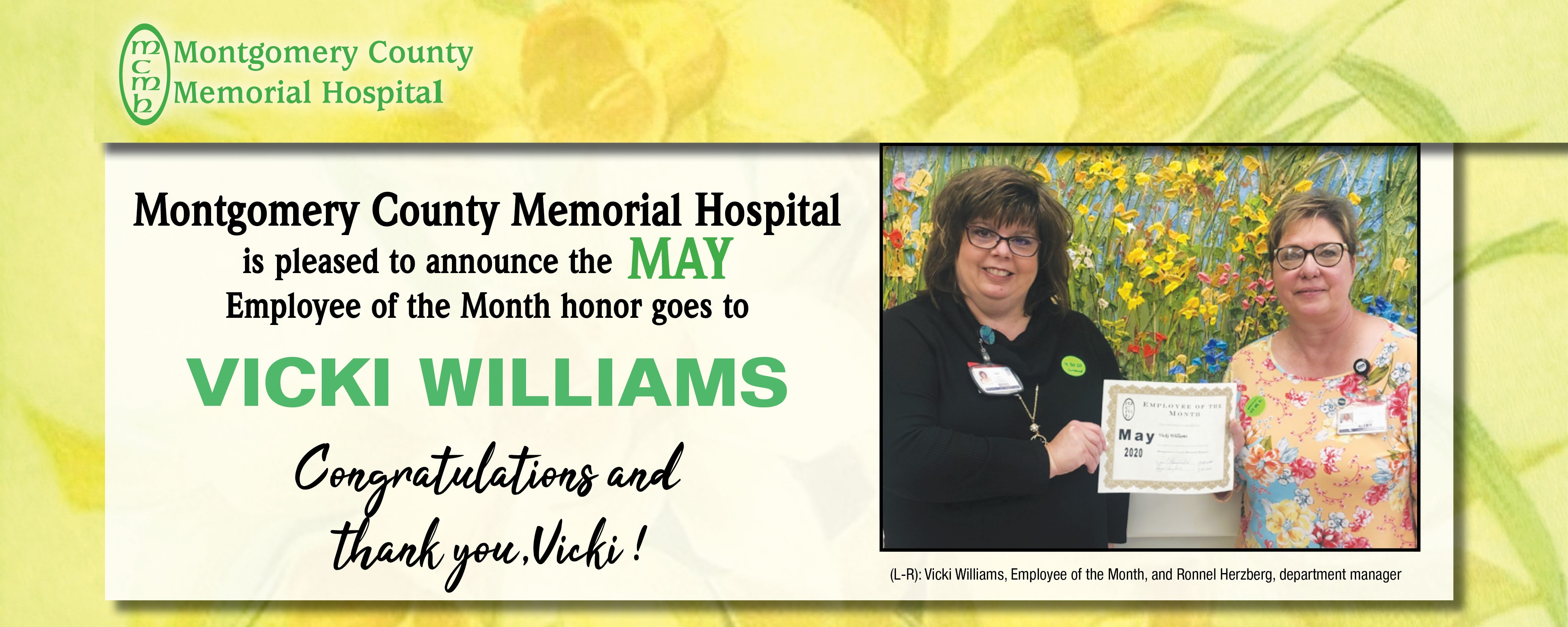 Vicki Williams: MCMH May Employee of the Month