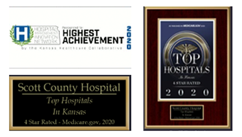 A picture of three awards for Scott County hospital