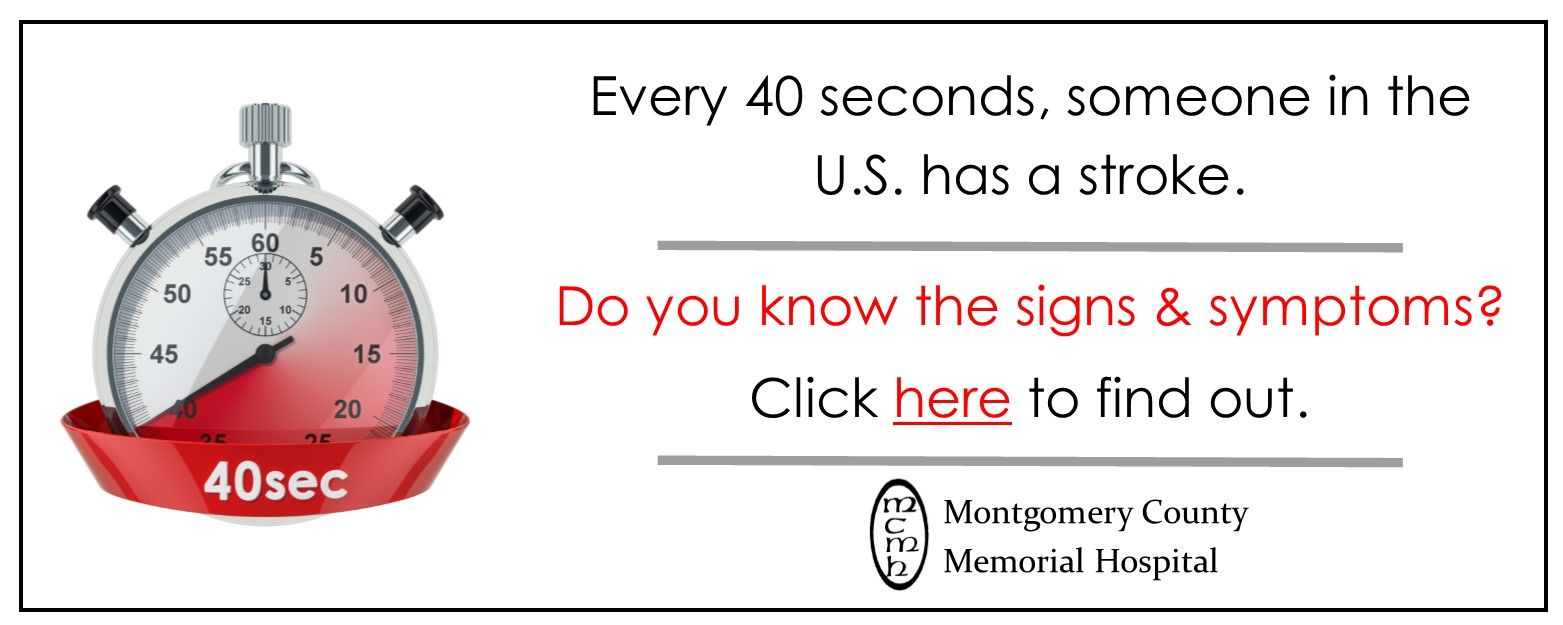 Every 40 seconds, someone in the U.S has a stroke. Do you know the signs and symptoms? Click here to find out.
