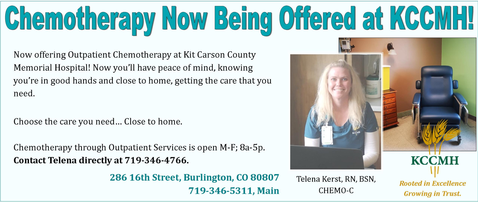 Chemotherapy is now offered at the KCCMH Outpatient Services