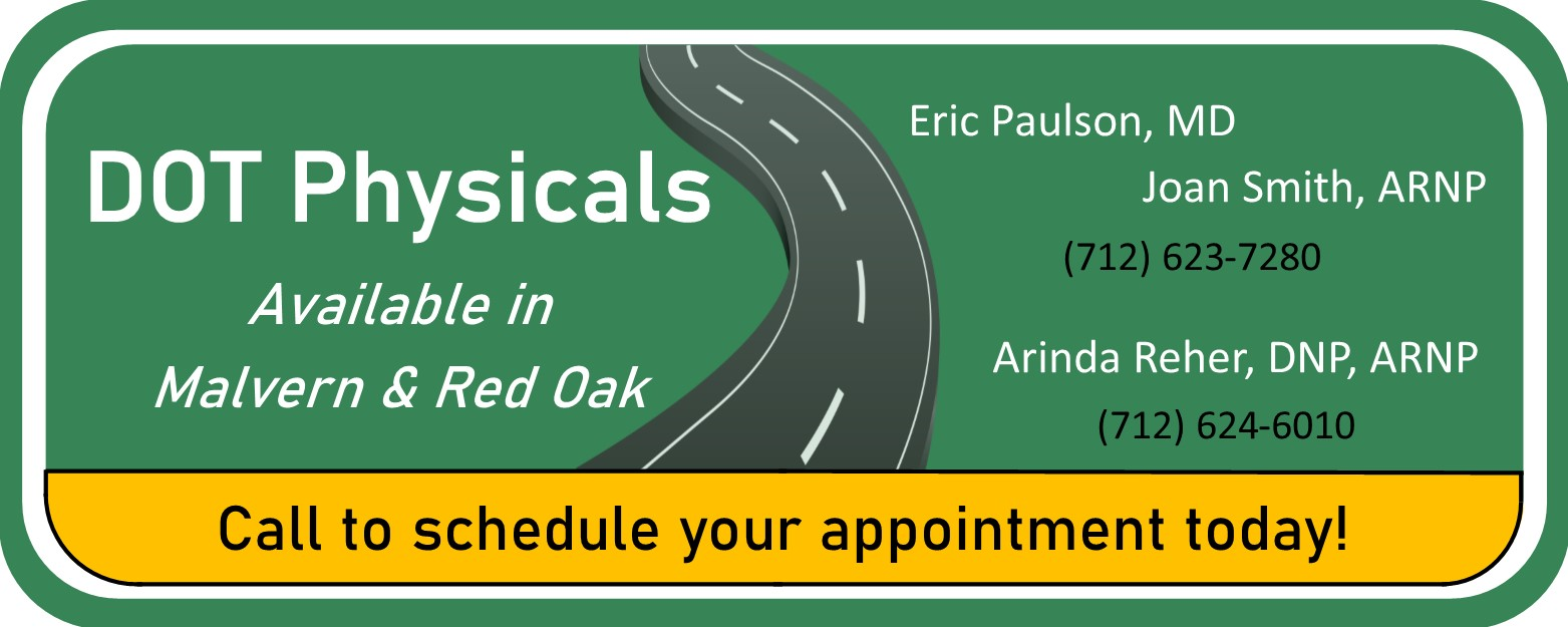 Dot Physicals Available in Malvern & Red Oak.