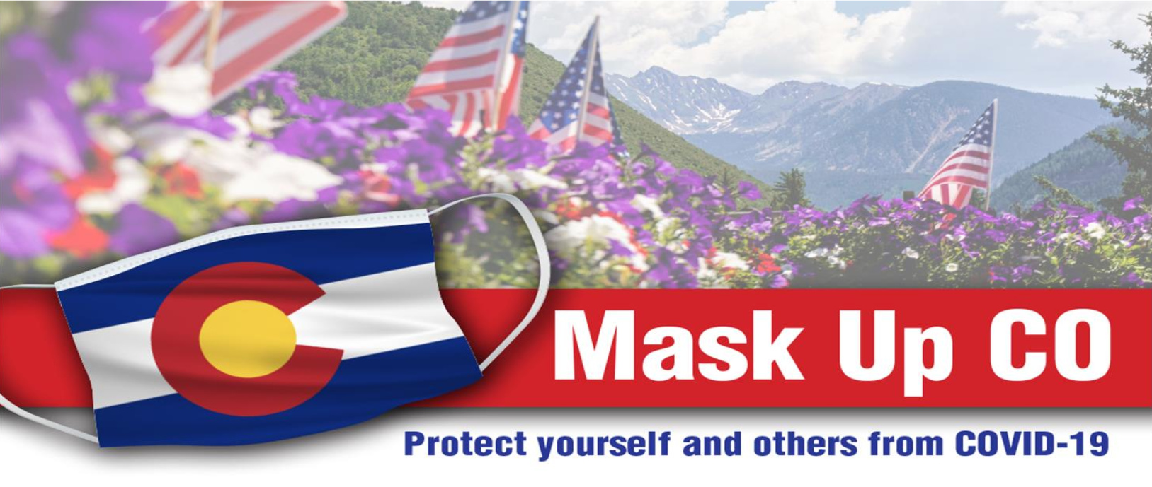Facial mask with CO state flag imprinted on it with mountains in the background.