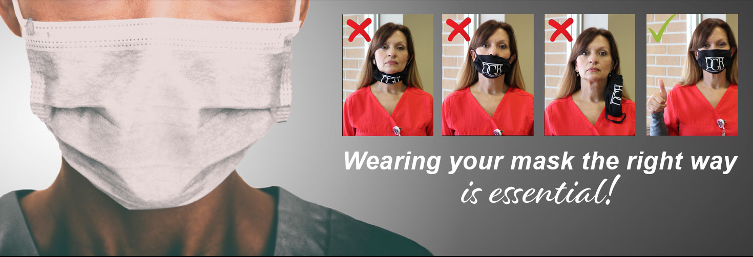 Pictured is a photo of a dr showing you how to wear your mask correctly.    Wearing your mask the right way is essential.