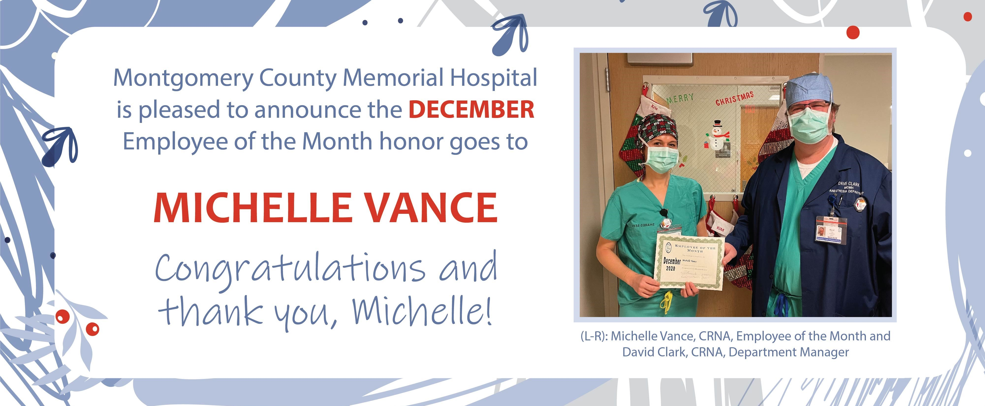 Michelle Vance: MCMH December Employee of the Month