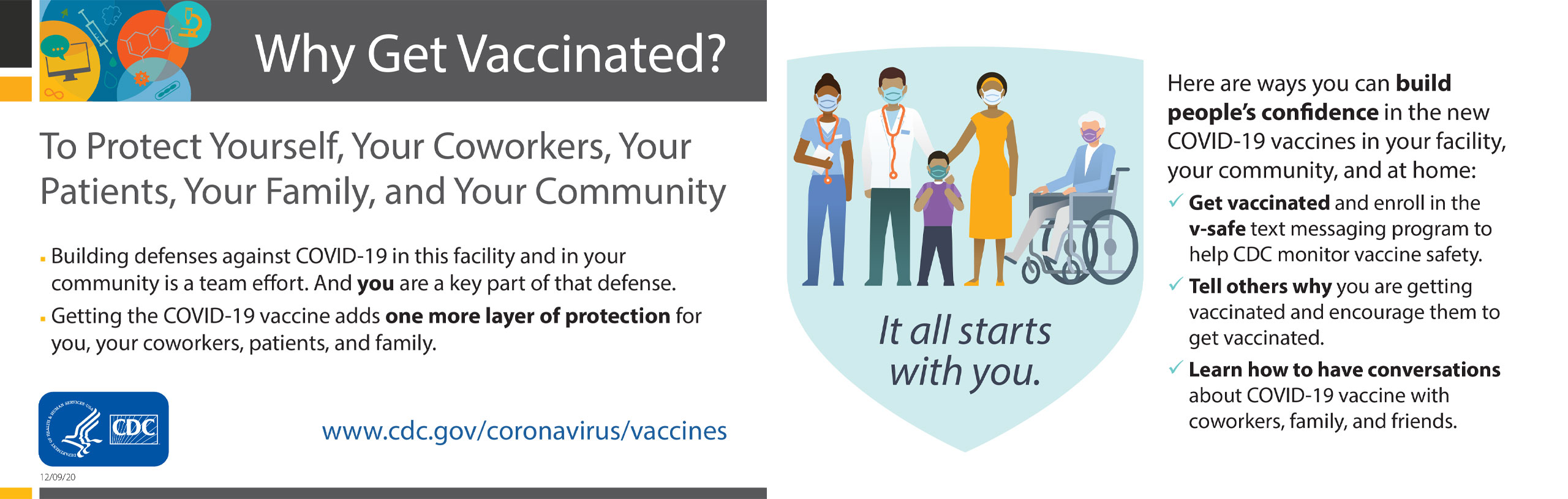 To protect yourself, your coworkers, your patients, your family, and your community. Building defenses against covid-19 in this facility and in your community is a team effort. and you are a key part of that defense. Getting the covid-19 vaccine adds one more layer of protection for you, your coworkers, patients, and family.