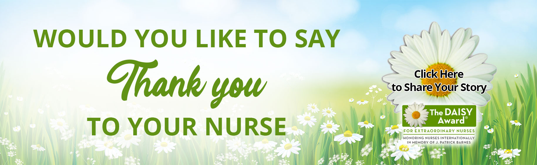 Picture is a Banner with a lot of Daisies in a grassy area   Banner says: WOULD YOU LIKE TO SAY Thank You TO YOUR NURSE