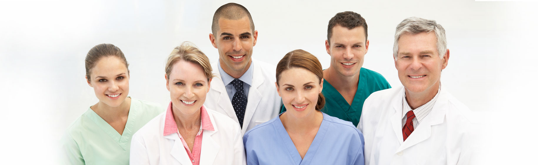 Banner picture of two male Physicians, one female Physician, two female Nurses, and one male Nurse.