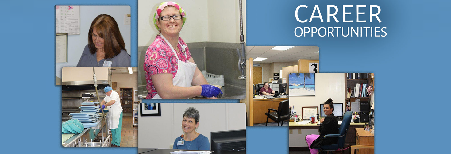 Career Opportunities: smiling staff members fulfilling various tasks