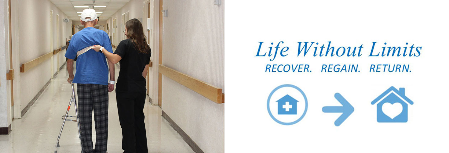 A female nurse is assisting a male patient to walk down the hall. Life without limits, recover, regain and return