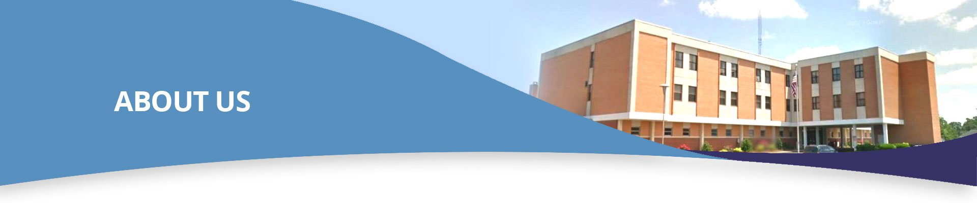Banner picture of The Mizell Memorial Hospital. Banner says: ABOUT US