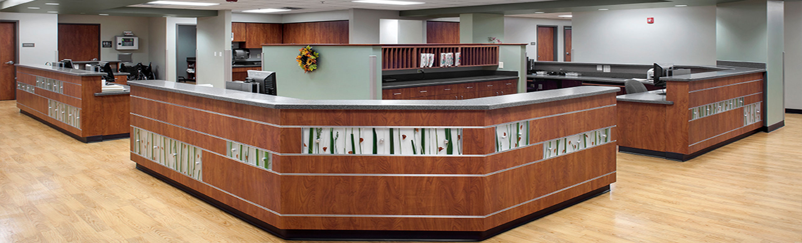 Picture of The Lavaca Medical Center customer service  front lobby desks with computers