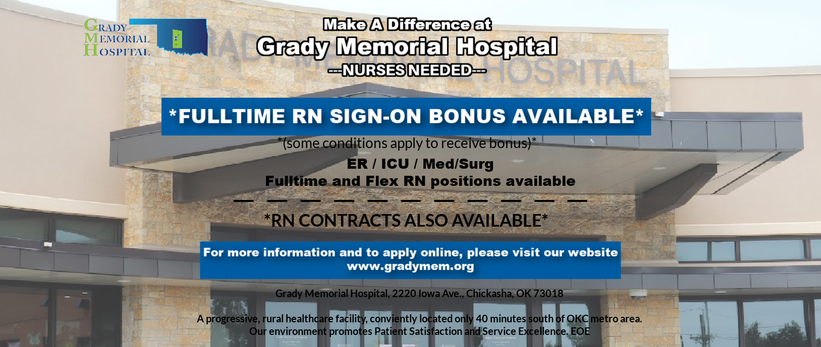 Banner picture of a female nurse wearing scrubs, a medical head cap, mask, face shield, and gloves. She is crossing her arms, Banner says: GRADY MEMORIAL HOSPTIAL   NURSES NEEDED-APPLY ONLINE TODAY Grady Memorial Hospital needs LPN'S and RN's for all areas and shifts. Full time, Part, and PRN (Flex) Available  Full Time and Part Time Positions wages are commensurate with experience  -RN Flex rate: $32.50 -LPN Flex rate: $24.60  Even one day per pay period can make a huge impact on giving our nursing staff a much needed break!